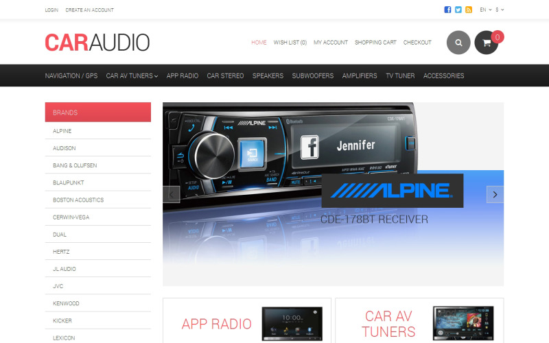 Car Audio Responsive OpenCart Template