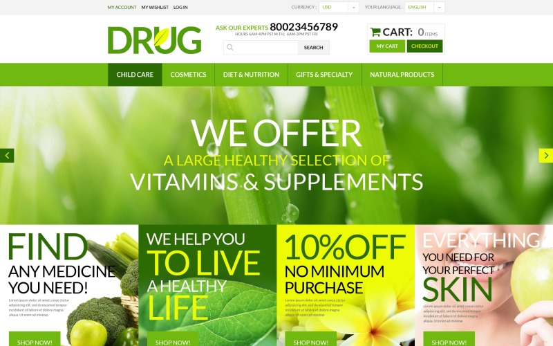 Drug Store PSD Template