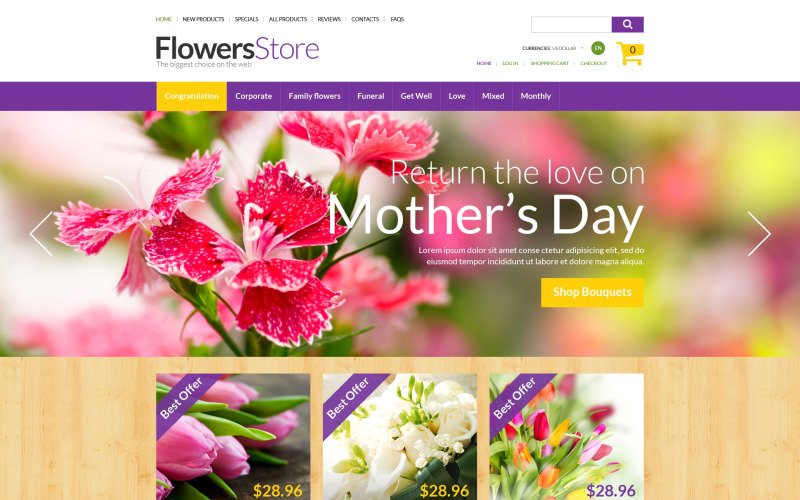 Her Gün Çiçekleri ZenCart Şablonu