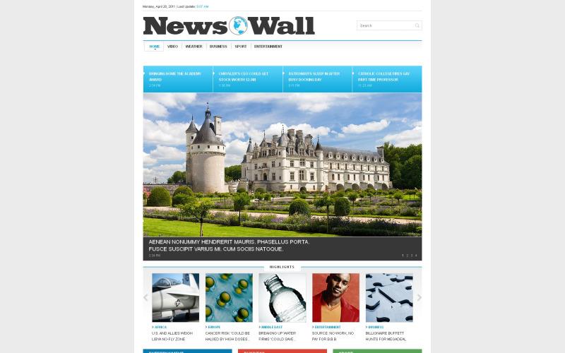 Modèle de site Web réactif pour le portail de nouvelles