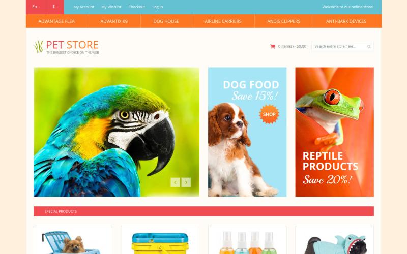 Dierenwinkel responsief Magento-thema