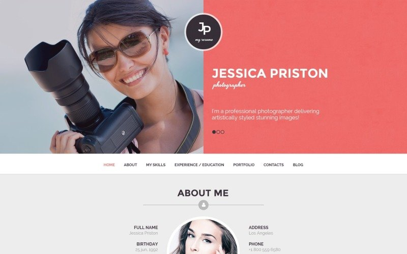 Photographer CV WordPress Theme