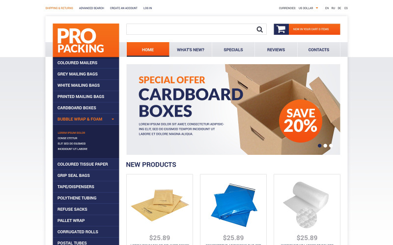 Packing Stuff Shop OsCommerce Template