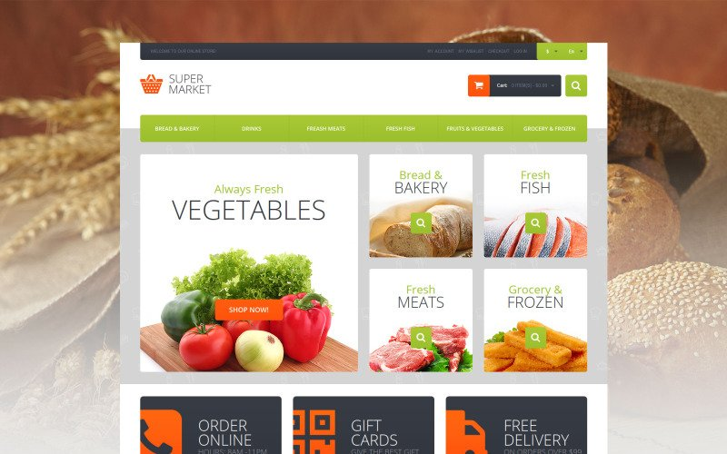 Supermarket Template Magento Theme