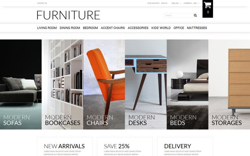 Thème PrestaShop de vente de meubles en ligne