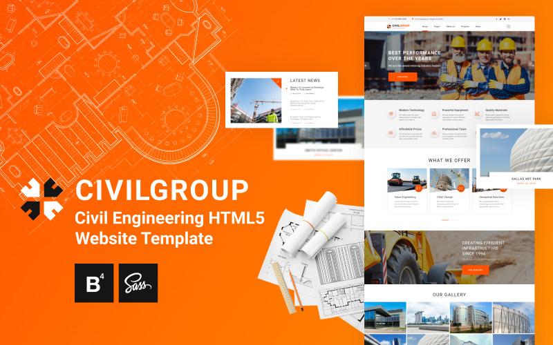 Civil Group - İnşaat Mühendisliği HTML5 Web Sitesi Şablonu