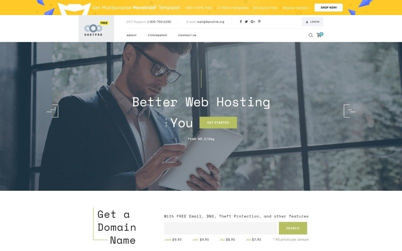 Free HTML5 Template - Hosting Website Website Template