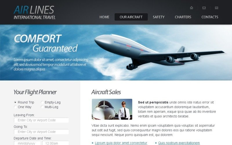 Free HTML5 Website Template - Airlines Company Website Template