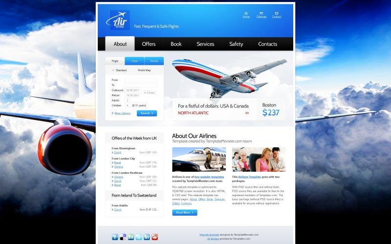 Kostenlose Website-Vorlage für Airlines Company Website-Vorlage