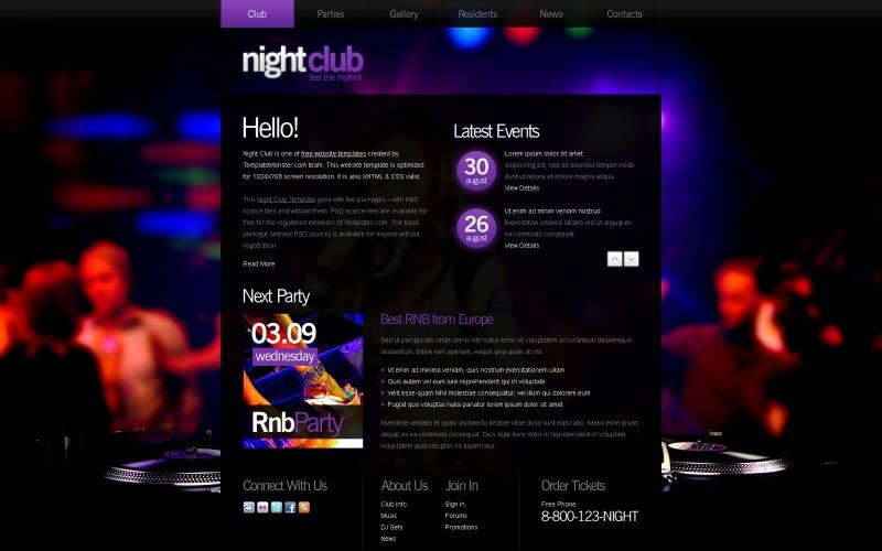 Kostenlose Website-Vorlage - Night Club-Website-Vorlage