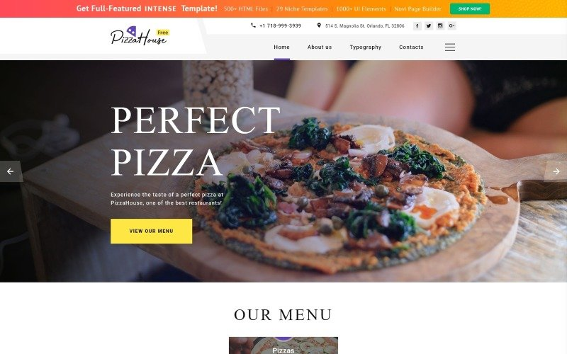 Free HTML5 Theme for Restaurant Website Website Template