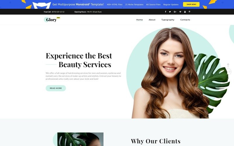 Free HTML5 Theme for Spa Salon Website Template