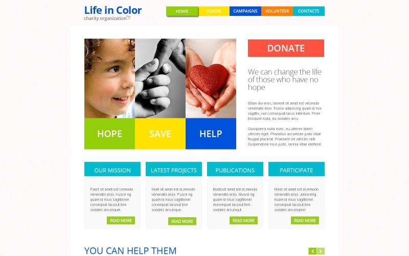 Free Responsive HTML5 Theme for Charity Site Website Template