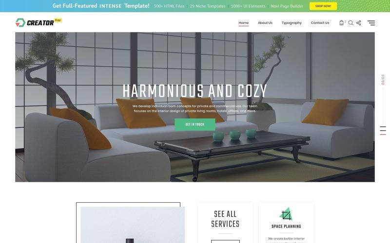 Gratis HTML5-thema voor Website-sjabloon voor exterieurontwerpwebsite
