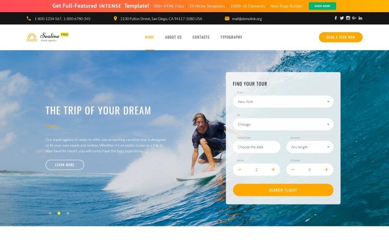 Gratis responsivt HTML5-tema för resebyråns webbplatsmall