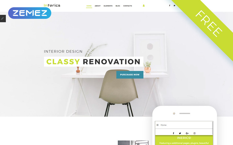 Interics - belsőépítészeti ingyenes tiszta Joomla sablon