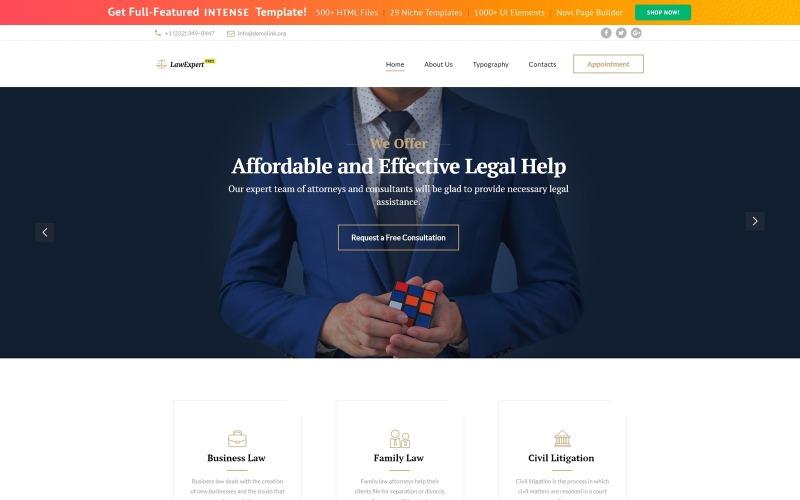 Kostenlose Responsive JavaScript Animated Template Website-Vorlage