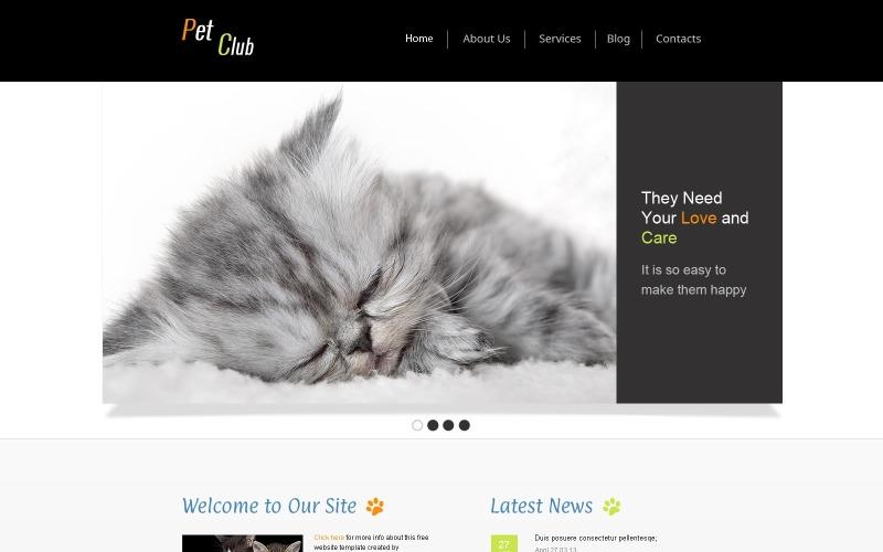 Kostenlose Website-Vorlage - Pet Site Website-Vorlage
