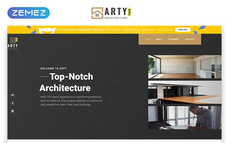 Tema HTML5 gratuito - Modello di sito Web di architettura