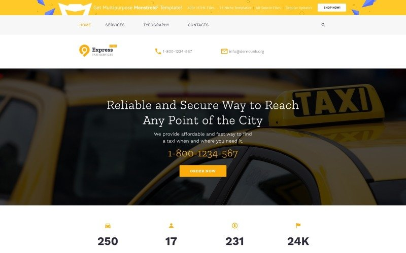 Tema HTML5 gratuito para modelo de site de empresa de táxi