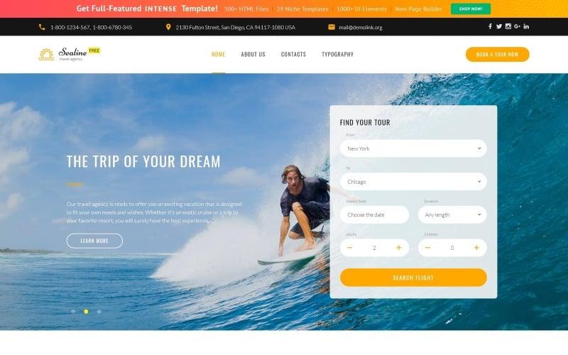 Tema HTML5 responsivo gratuito para modelo de site de agência de viagens