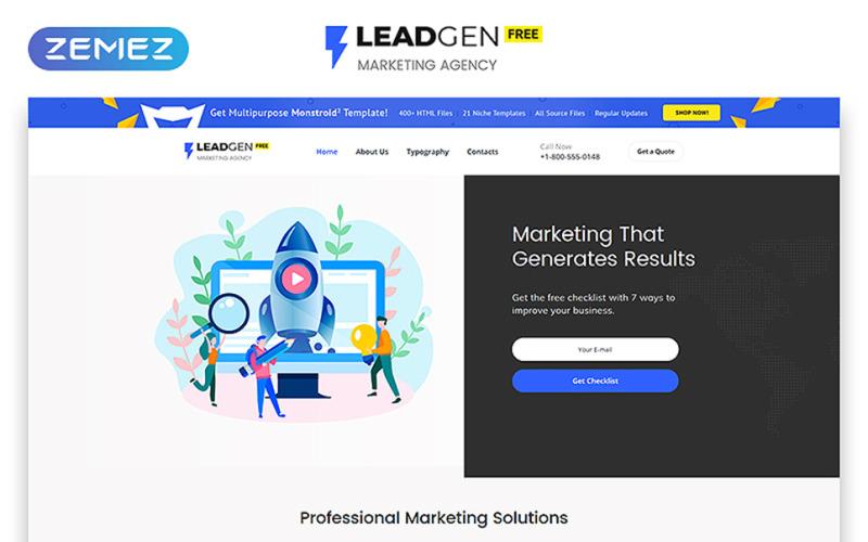 Zdarma téma HTML5 pro šablonu webových stránek marketingové agentury