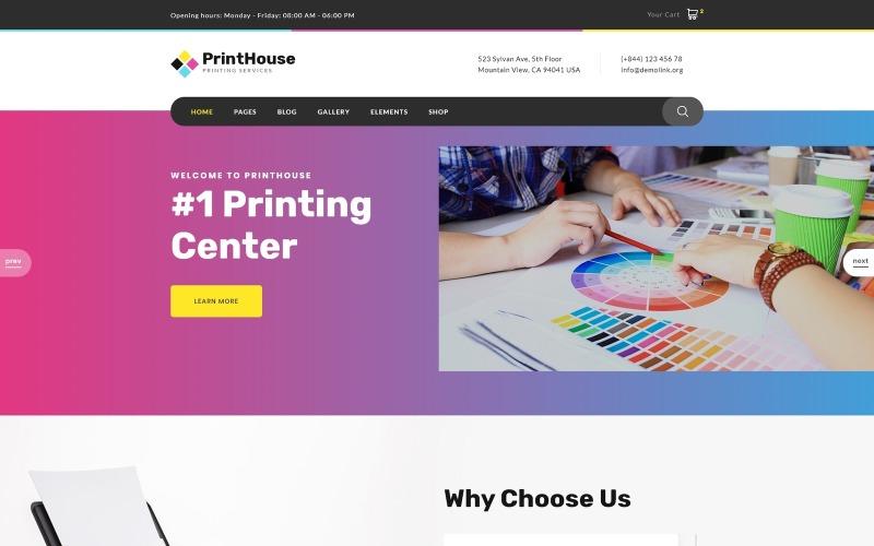 Print House - Modello di sito Web HTML moderno multipagina per negozio di stampa