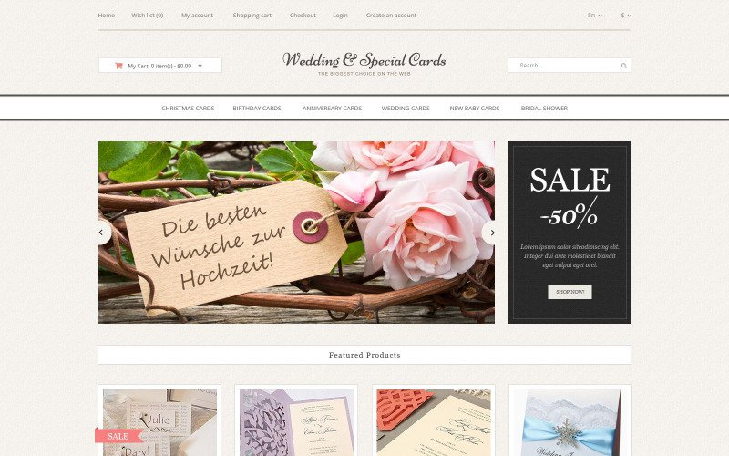 Wedding Cards Store OpenCart Template