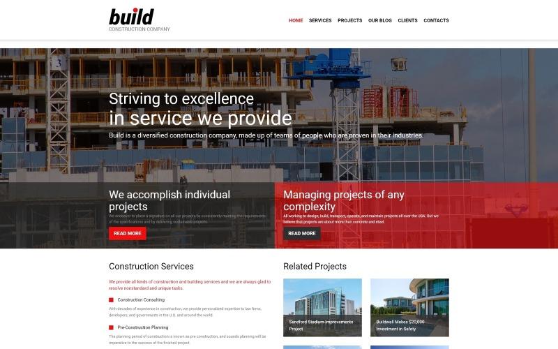 Építés - Építőipari vállalat többoldalas, modern Joomla sablon