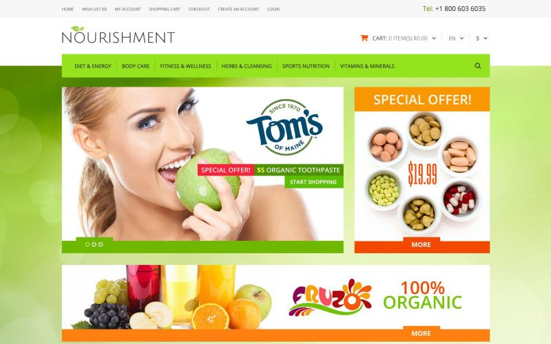 Modèle OpenCart de nutrition sportive de santé