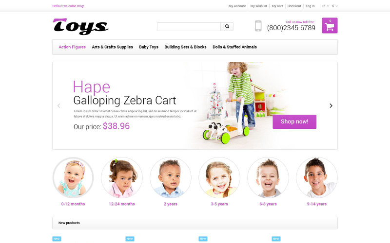 Адаптивная тема Magento для магазина игрушек
