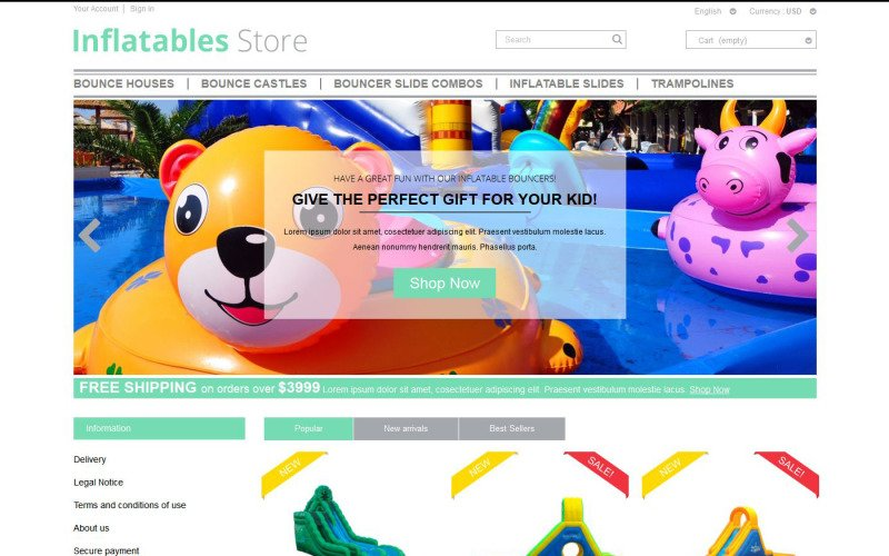 Inflatables PrestaShop Theme