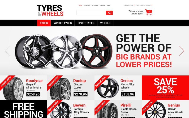 Wheels and Tyres Magento Theme