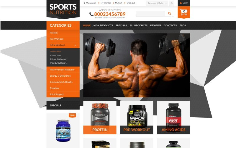 Bodybuilding Supplements ZenCart Template