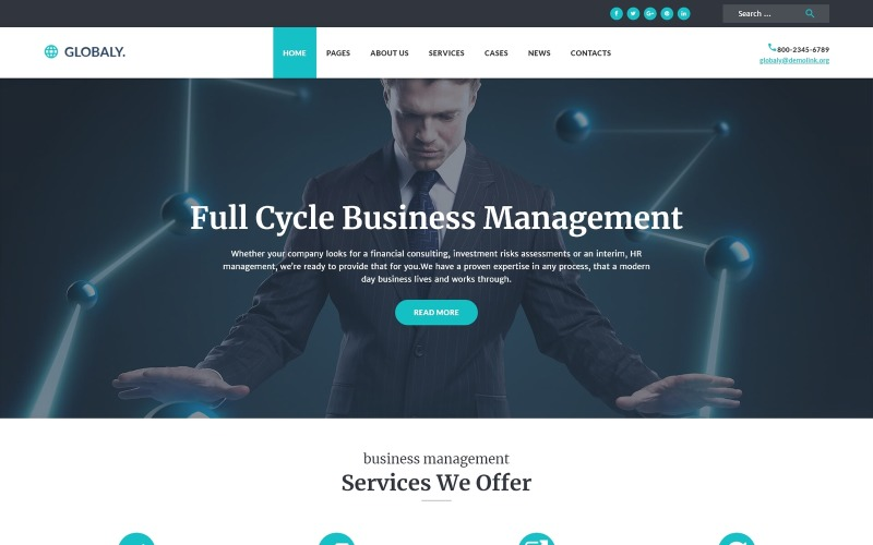 Globaly - Teljes körű üzleti menedzsment és tanácsadó válaszadó WordPress téma