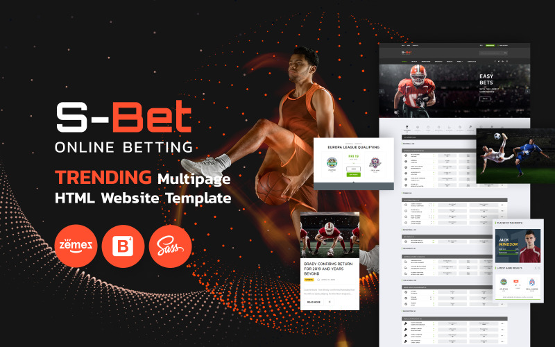 S-Bet - online sázení vícestránkové šablony webových stránek HTML