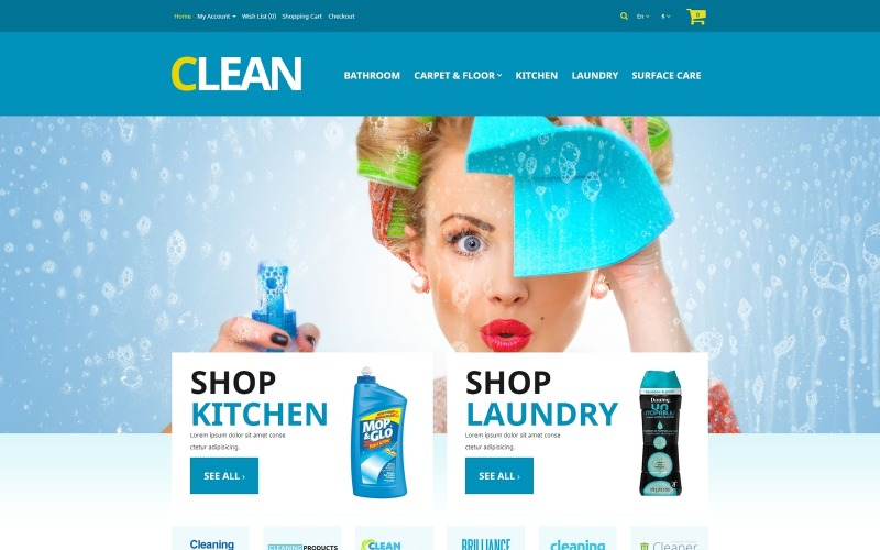 Home Cleaning Supplies OpenCart Template