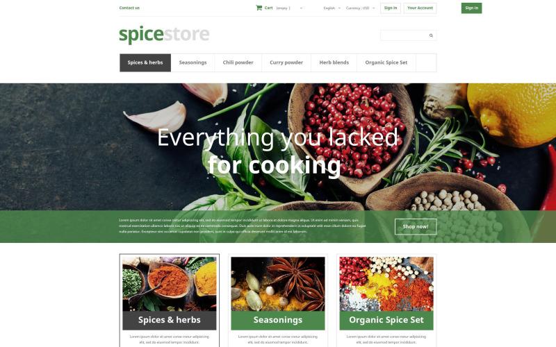 czysty sklep e-commerce sklep z pikantnymi smakami gotuj pieprz sól proszek mieszanka suszonych ziół cynamonowych Motyw PrestaShop