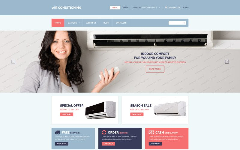 Free Air Conditioning VirtueMart Template