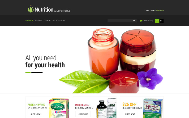 Táplálkozási termékek PrestaShop téma