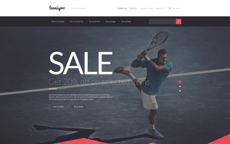 Tennis Gear PrestaShop Theme