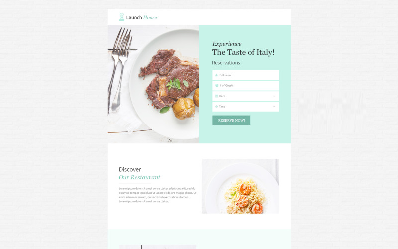 Cafe and Restaurant - Unbounce template