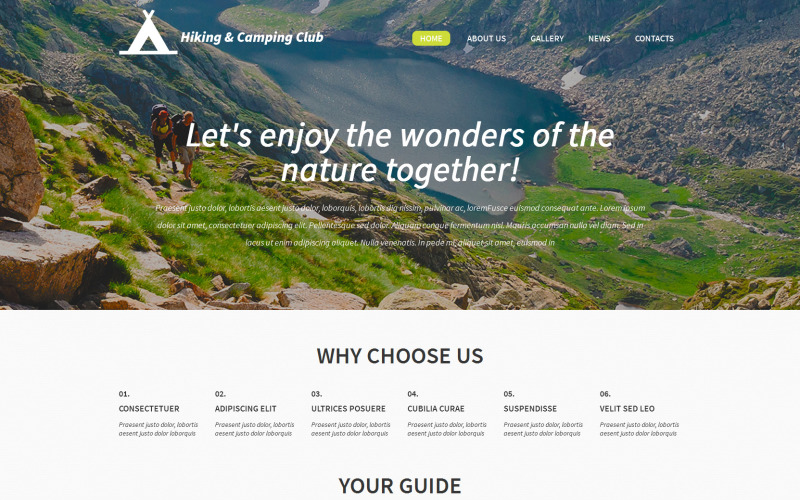 Hiking and Camping Club WordPress Theme