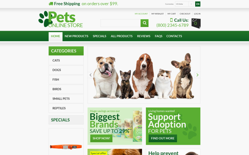 Animals  Pets ZenCart Template