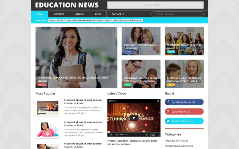 Tema WordPress di notizie sull'istruzione