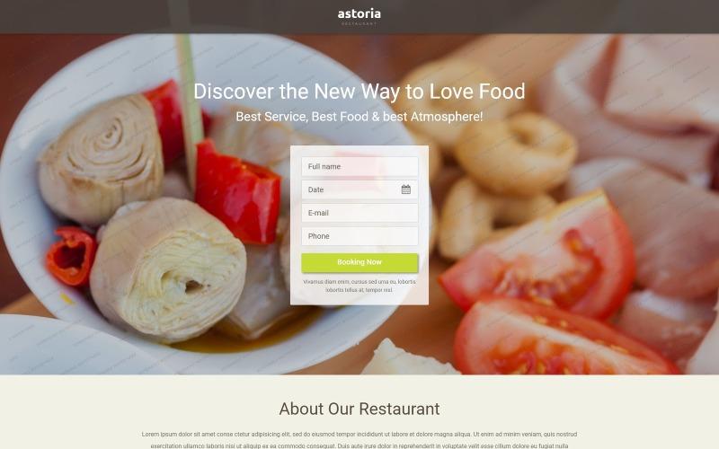 Gratis mall för målsida för restaurang