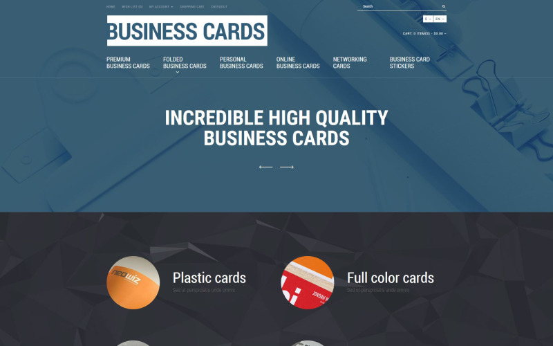 Business Cards Store OpenCart Template