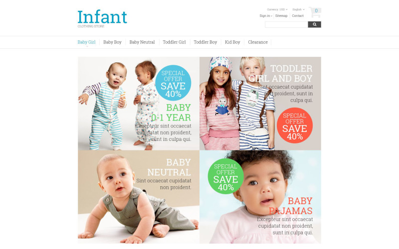 Infant Clothing Store PrestaShop Theme