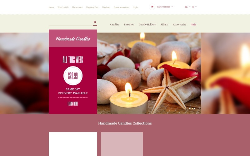 Decorative Candles OpenCart Template