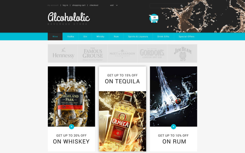Alcoholic Beverage Store ZenCart Template